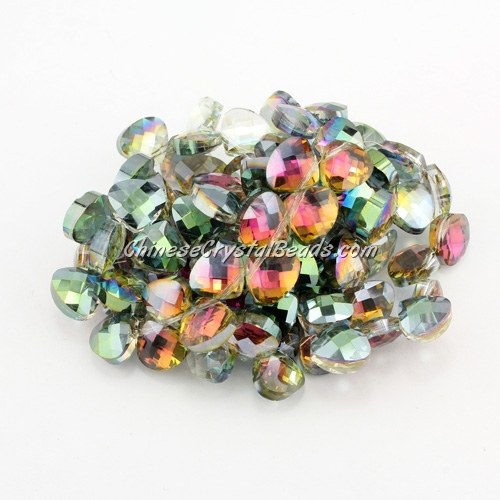 Crystal Flat Briolette beads strand ,9x10mm, green and purple light, 20 beads