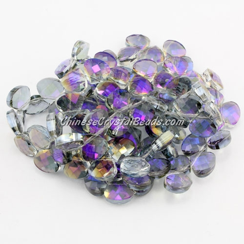 Crystal Flat Briolette beads strand ,9x10mm, purple light, 20 beads