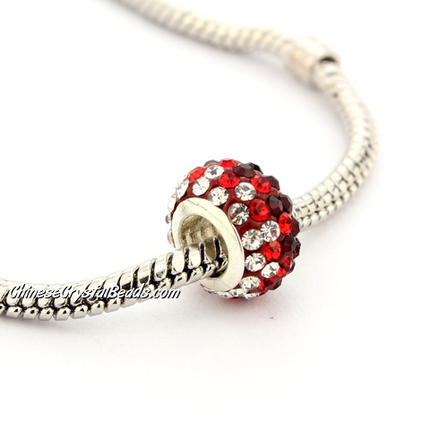 Pave European Beads, clay, red gradual, 7x12mm, hole: 5mm, 9 pieces