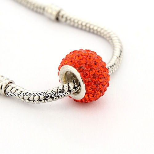 Pave European Beads, clay, orange, 8x12mm, hole: 5mm, 9 pieces