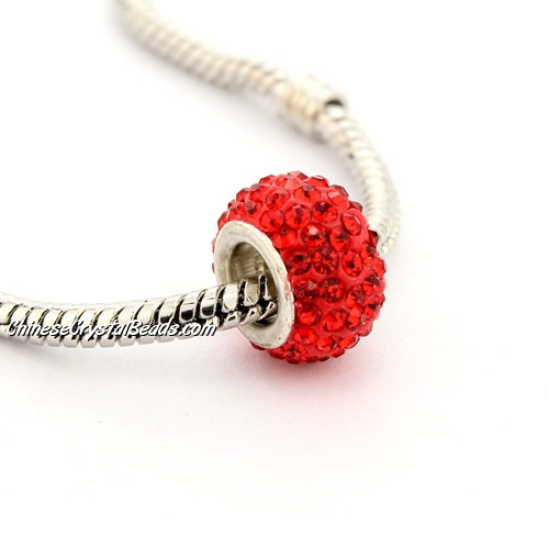 Pave European Beads, clay, Red, 8x12mm, hole: 5mm, 9 pieces