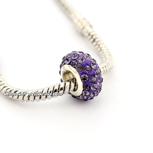 Pave European Beads, clay, tanzanite, 7x12mm, hole: 5mm, 9 pieces