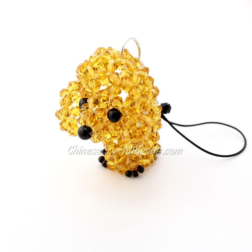 Crystal 3D Beading (Charm Kit) crystal animals Dog poodle, amber, 48x40x32mm