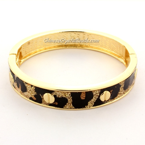 Womens Hinged Bangle Bracelet, leopard print, 12mm wide, Length:60mm