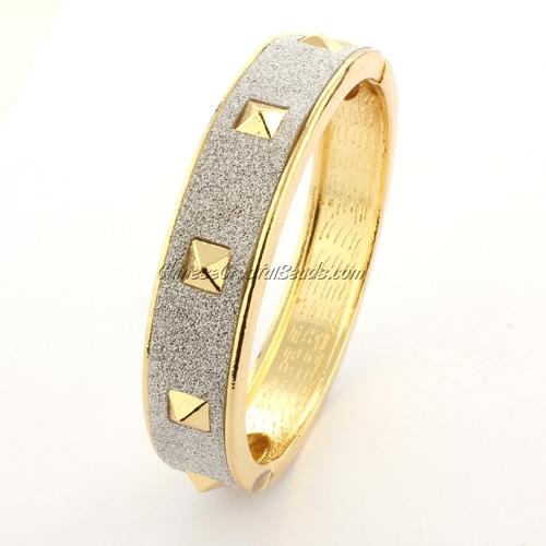 Womens Hinged Bangle Bracelet,alloy gold plated, Punk, Spike, 13mm wide, Length:60mm