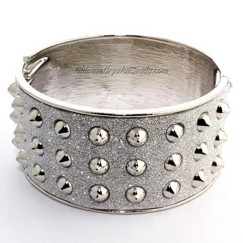 Womens Hinged Bangle Bracelet, alloy silver plated, Punk, Spike, 33mm wide, Length:60mm