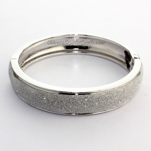 Womens Hinged Bangle Bracelet, alloy silver plated, 13mm wide, Length:60mm