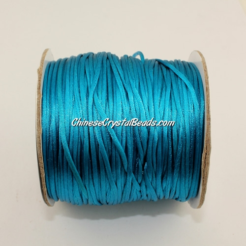1.5mm Satin Rattail Cord thread, #14, capri blue, 80Yard spool