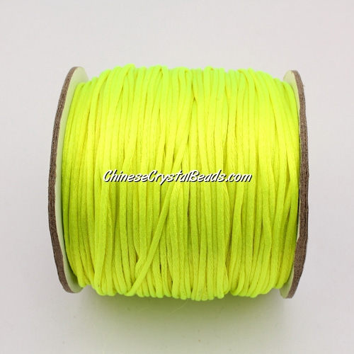 1.5mm Satin Rattail Cord thread, #11,(yellow neon color) 80Yard spool