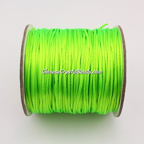 1.5mm Satin Rattail Cord thread, #10,(green neon color) 80Yard spool