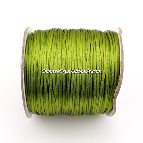 1.5mm Satin Rattail Cord thread, #09, Olive green, 80Yard spool