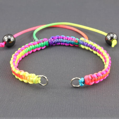 Pave chain, Satin Rattail Cord, rainbow, wide : 6mm, length:14cm