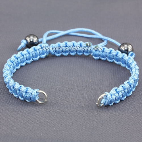 Pave chain, nylon cord, sky blue, wide : 7mm, length:14cm