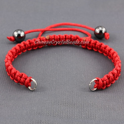 Pave chain, nylon cord, red, wide : 7mm, length:14cm