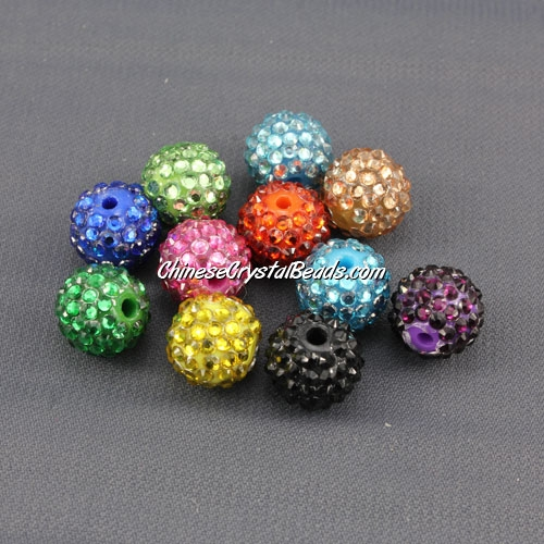 Pave Beads, resin, pave disco beads, mixture-color, 10mm, sold per pkg of (20 pieces)