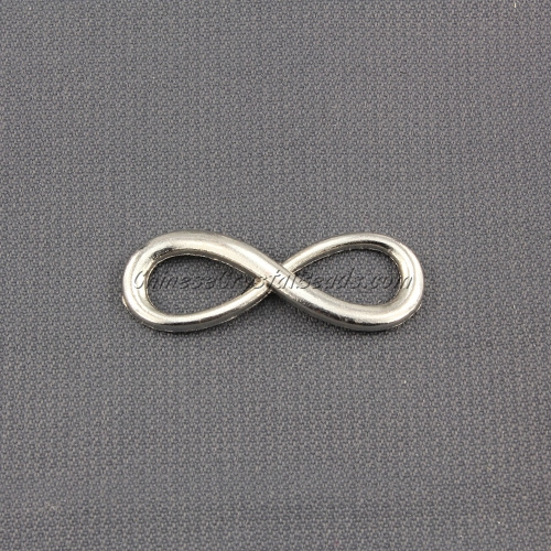 Infinity charms, 10x30mm, platinum, 1 pc