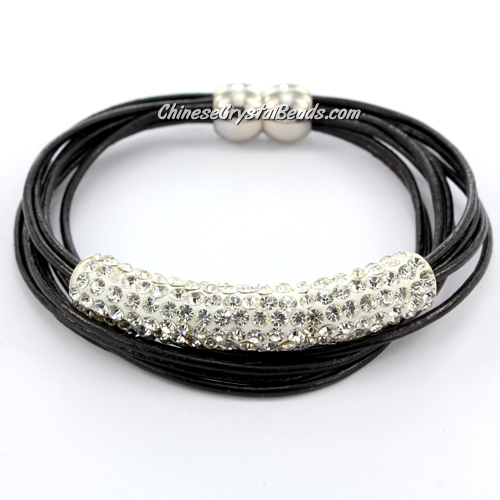 "Rhinestone Clay Tube Multi Strand Leather Magnetic Bracelet black , 7.5"" Leagth"