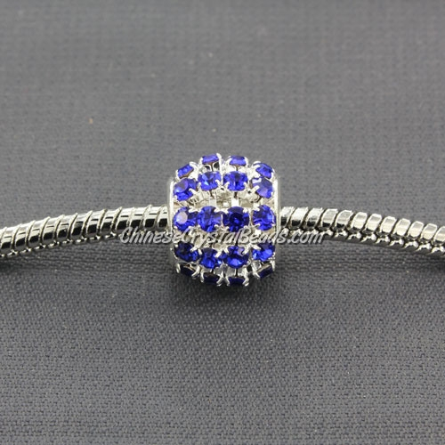 European Beads, Silver Plated, sapphire Rhinestone, 10mm, hole: 5mm, per pkg of 10 pcs