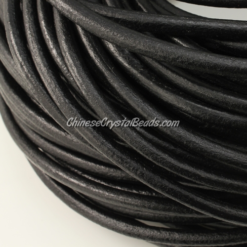5mm round leather cord, Black, (Sold by the inch)