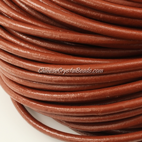 5mm round leather cord, brown color, (Sold by the inch)