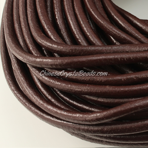 3mm round leather cord, coffee color, (Sold by the meter)
