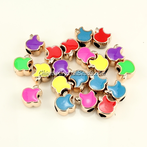 CCB, apple beads, hole: 5mm, 8x13x13mm, mixture color, sold per pkg of 20 pcs