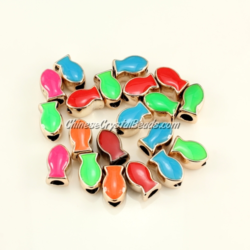 CCB, fish beads, hole: 5mm, 9x14x14mm, mixture color, sold per pkg of 20 pcs