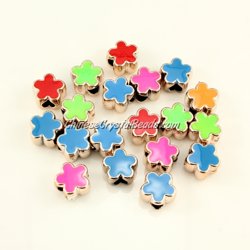 CCB, flower beads, hole: 5mm, 8x13x13mm, mixture color, sold per pkg of 20 pcs