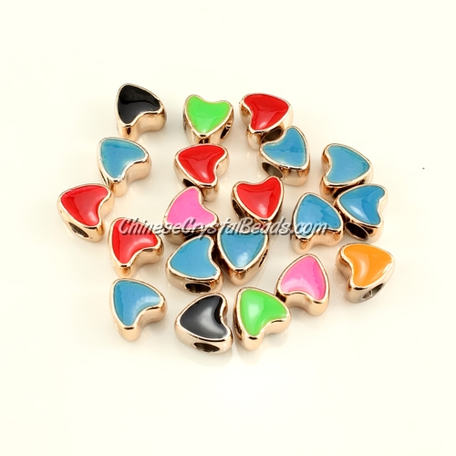CCB, heart beads, hole: 5mm, 9x11x11mm, mixture color, sold per pkg of 20 pcs