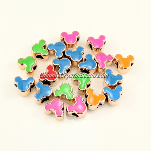 CCB, mouse beads, hole: 5mm, 8x12x14mm, mixture color, sold per pkg of 20 pcs
