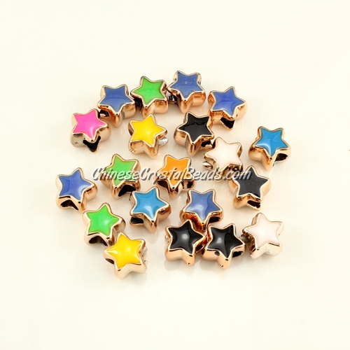 CCB, star beads, hole: 5mm, 9x11x11mm, mixture color, sold per pkg of 20 pcs