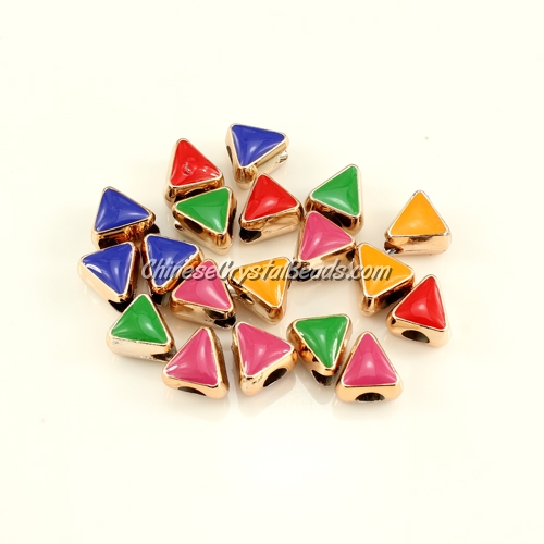 CCB, triangular beads, hole: 5mm, 9x11x11mm, mixture color, sold per pkg of 20 pcs