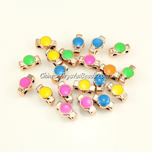CCB, round beads, hole: 3x10mm, 7x8x14mm, mixture color, sold per pkg of 20 pcs