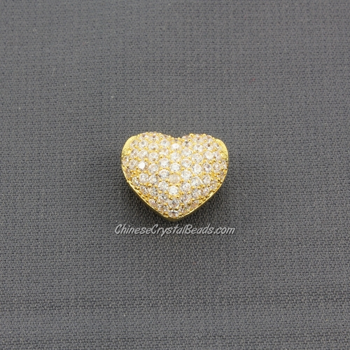 Cubic Zirconia Pave Beads, heart, 9x12x14mm, hole: 3mm, 18k gold plated, 1 pieces