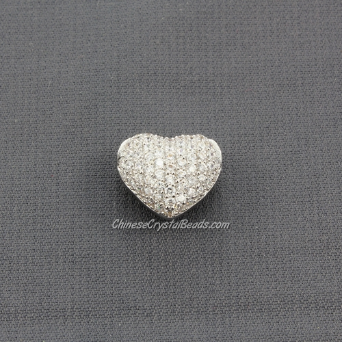 Cubic Zirconia Pave Beads, heart, 9x12x14mm, hole: 3mm, 18k platinum plated, 1 pieces