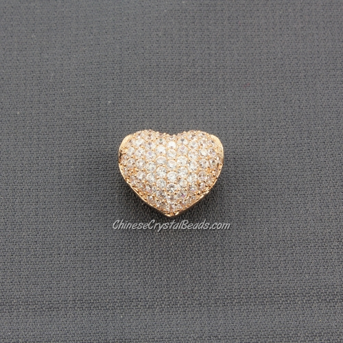 Cubic Zirconia Pave Beads, heart, 9x12x14mm, hole: 3mm, 18k rose gold plated, 1 pieces