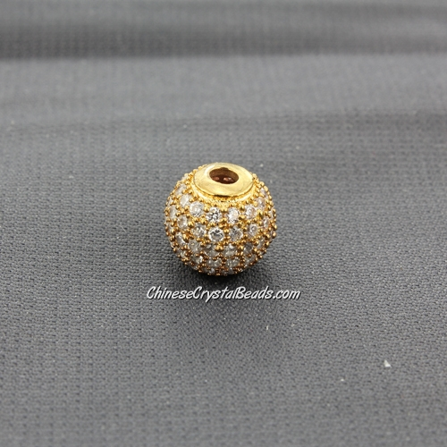 Cubic Zirconia Pave Beads, round, 10mm, hole, 2.5mm, 18k gold plated, 1 pieces