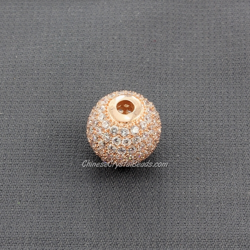 Cubic Zirconia Pave Beads, round, 12mm, hole, 2.5mm, 18k rose gold plated, 1 pieces
