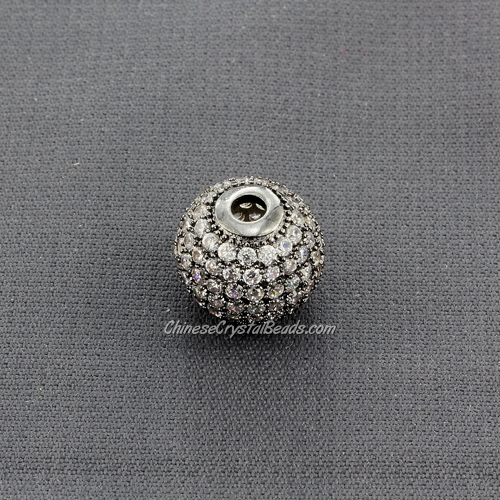Cubic Zirconia Pave Beads, round, 12mm, hole, 2.5mm, 18k gunmetal plated, 1 pieces