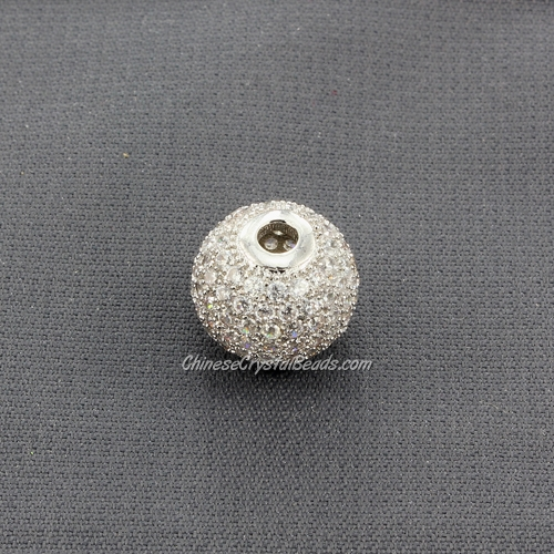 Cubic Zirconia Pave Beads, round, 12mm, hole, 2.5mm, 18k platinum gold plated, 1 pieces