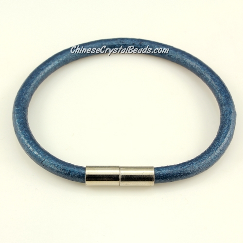 Fashion leather stainless steel Magnetic Bracelet, 5mm round leather, Pearlescent color blue, 7.5 inch