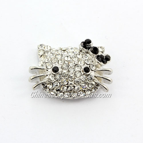 pave black crystal cat charms, 32x21mm, silver plated, 1 pieces