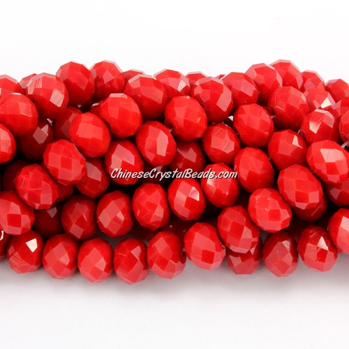 Chinese Crystal Rondelle Bead Long Strand, Red Velvet, 6x8mm , about 72 beads