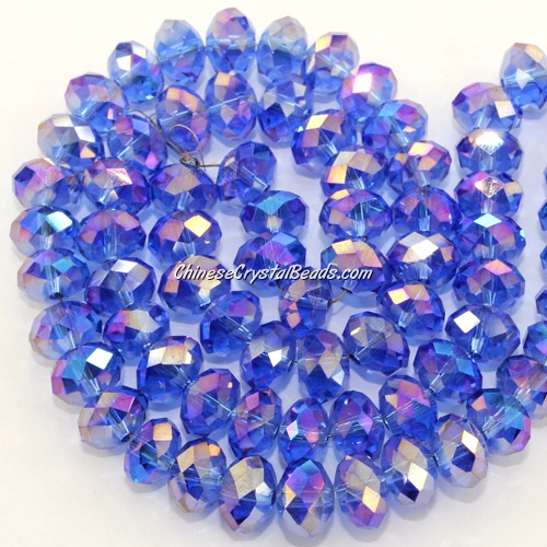 Chinese Crystal Long Bead Strand, Med sapphire AB, 6x8mm , about 72 beads