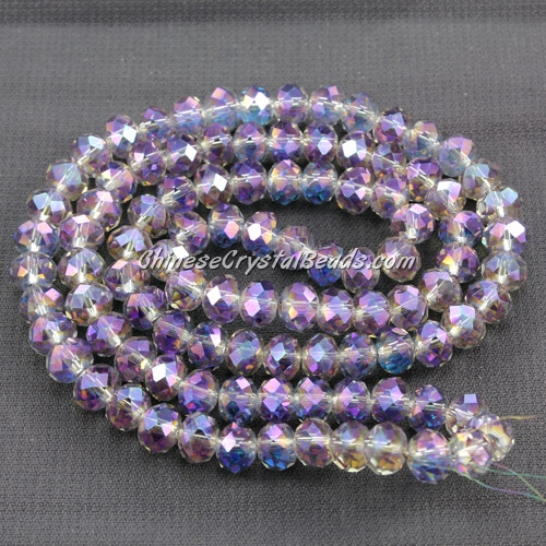 Chinese crystal rondelle beads strand 4x6mm, purple and blue light, about 100 beads
