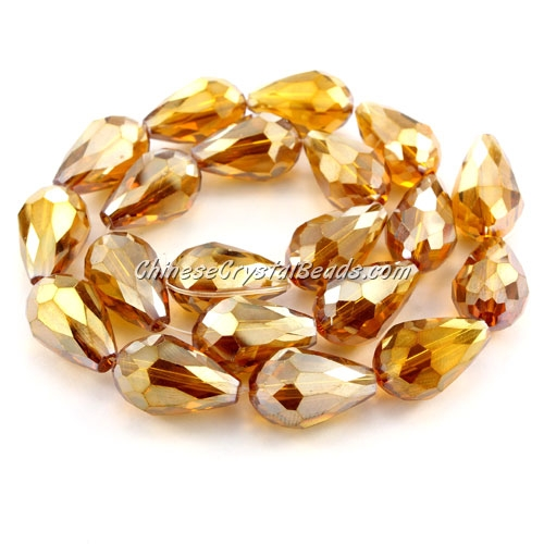 20Pcs 10x15mm Chinese Crystal Teardrop Strand, Amber AB