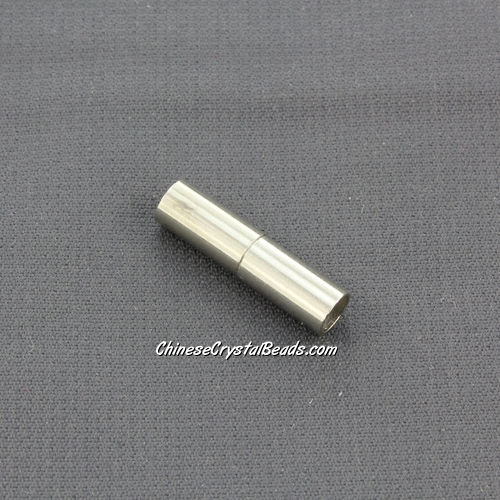 Brass Magnetic Clasps, tube, 5x20mm, platinum, half-drilled hole, hole:4mm, 1pcs