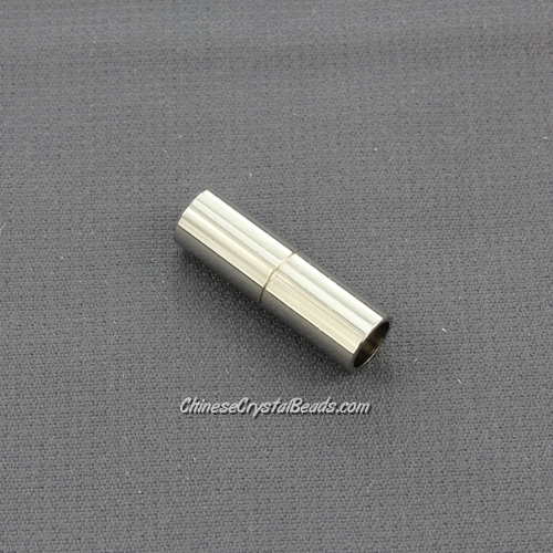 Stainless steel Magnetic Clasps, tube, 7x22mm, half-drilled hole, hole:6mm, 1 pieces