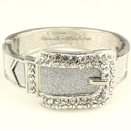 Womens Hinged Bangle Bracelet, Belt Buckle, 32-13mm wide, Length:60-50mm