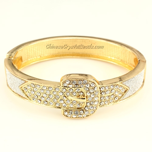 Womens Hinged Bangle Bracelet, Belt Buckle, 13mm wide, Length:60-50mm